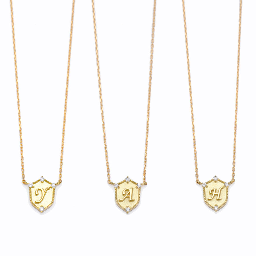 Lucky letter charm necklace 詳細画像 Gold 3