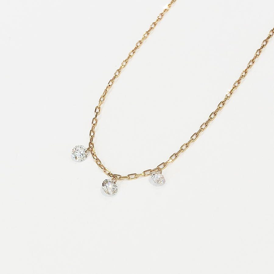 "SHIZUKU necklace""three stone"" 詳細画像 Gold 1"