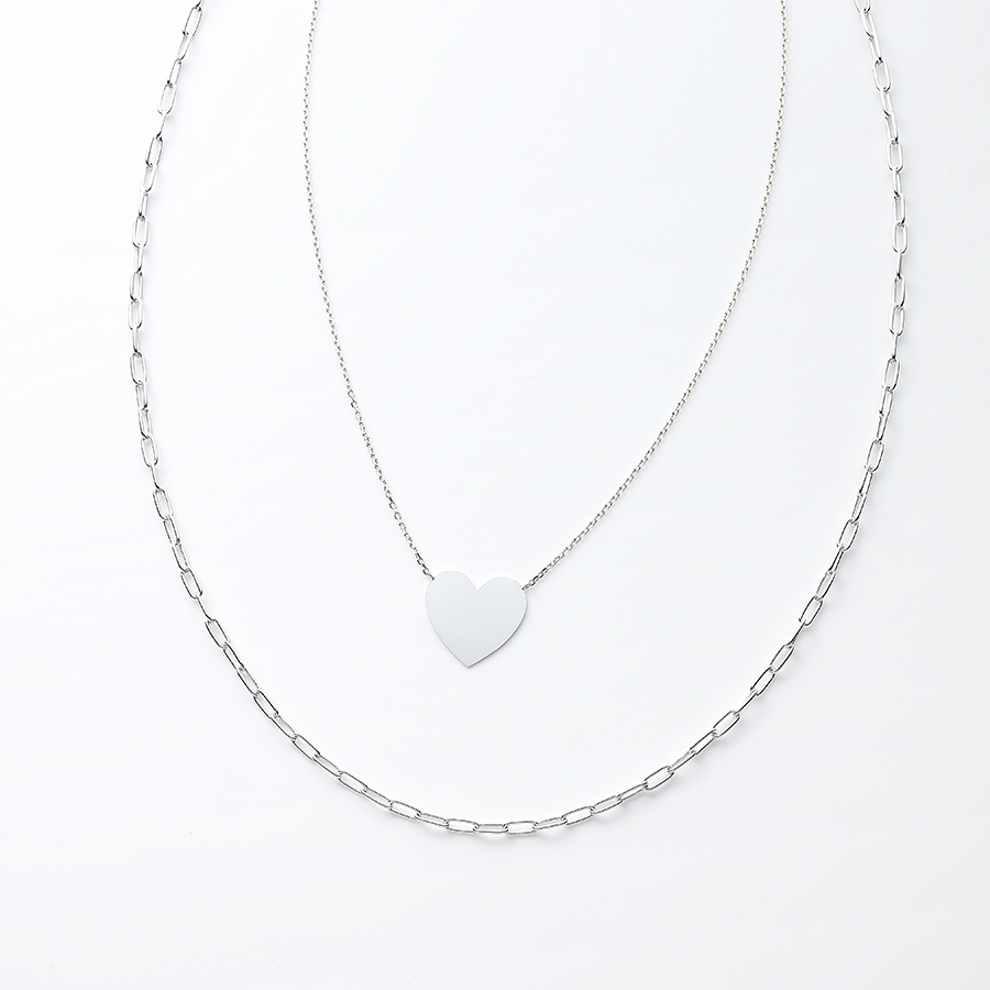 Heart plate necklace 詳細画像 Silver 1