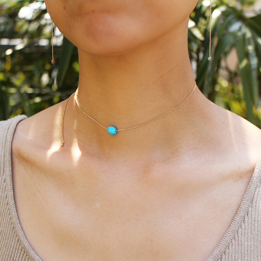 Tumble turquoise necklace 詳細画像 Gold 5