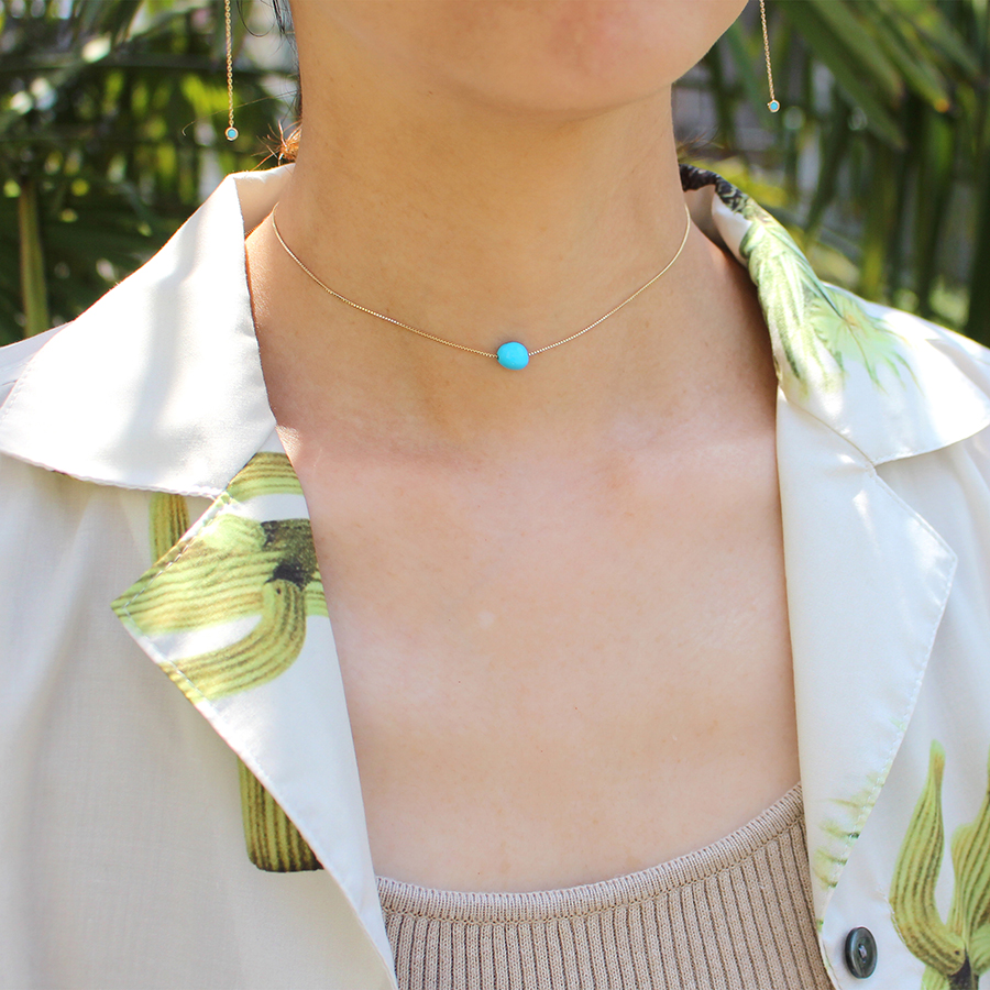 Tumble turquoise necklace 詳細画像 Gold 6