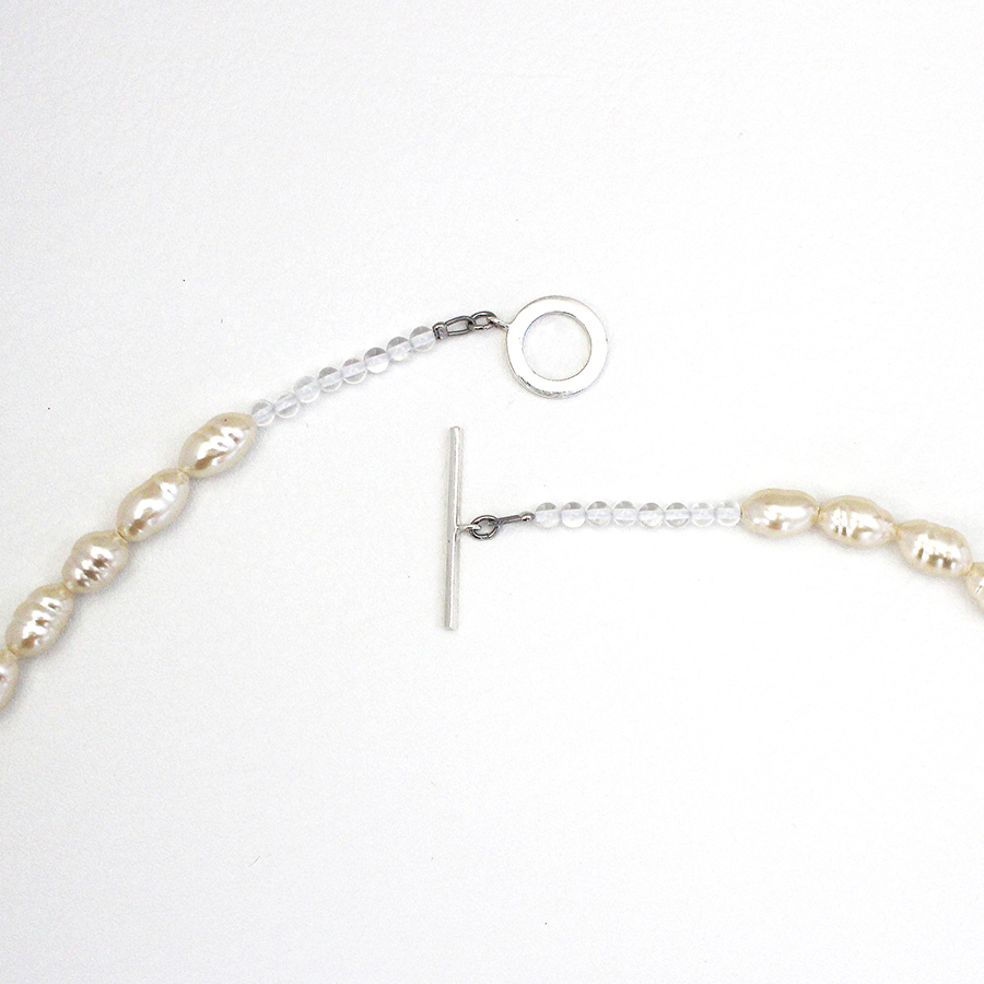 Long glass pearl necklace 詳細画像 Silver 1