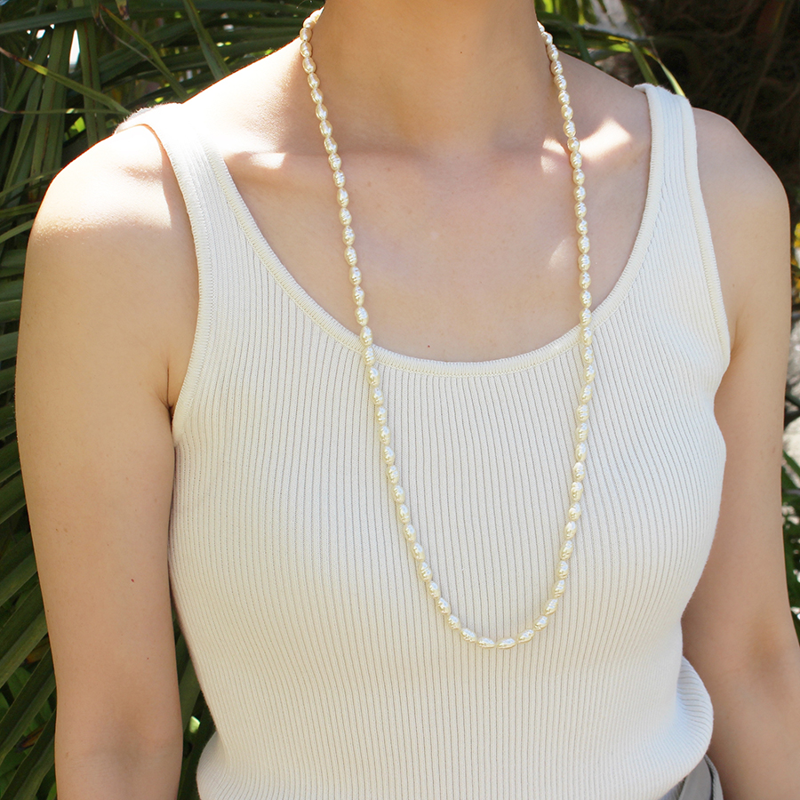 Long glass pearl necklace 詳細画像 Silver 2