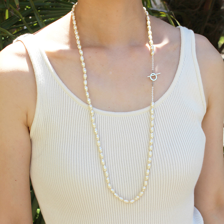 Long glass pearl necklace 詳細画像 Silver 3