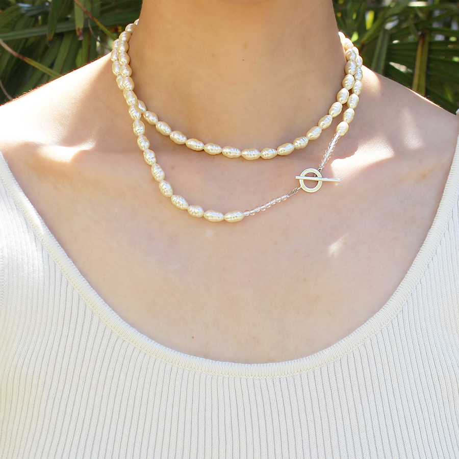 Long glass pearl necklace 詳細画像 Silver 4