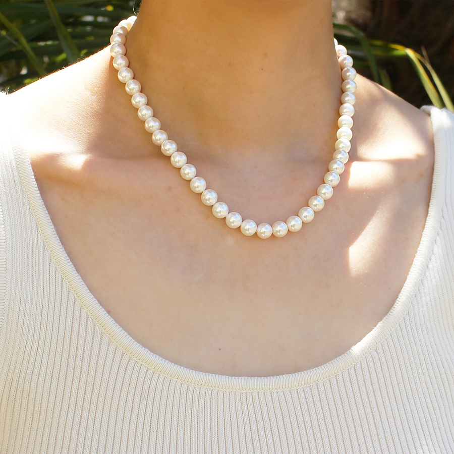 Shell pearl crystal necklace 詳細画像 Silver 2