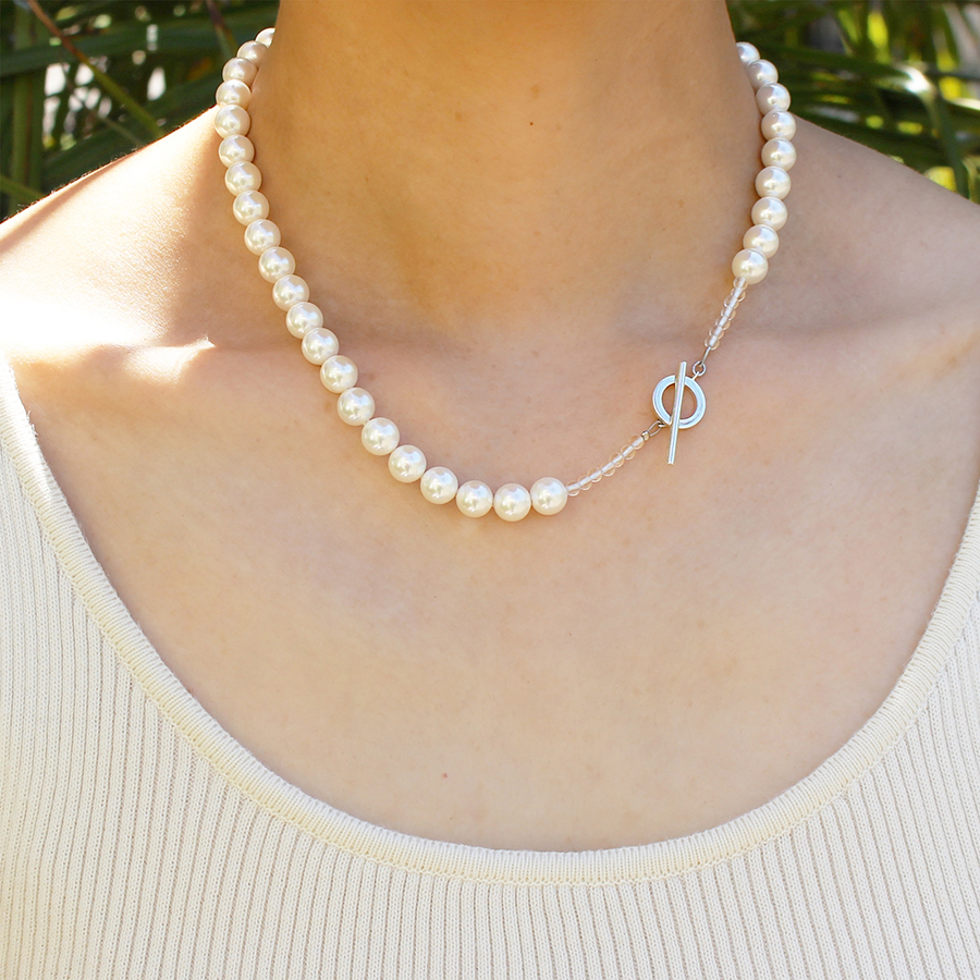 Shell pearl crystal necklace 詳細画像 Silver 3