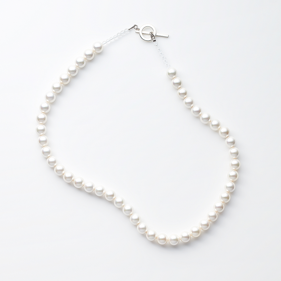 Shell pearl crystal necklace 詳細画像 Silver 1